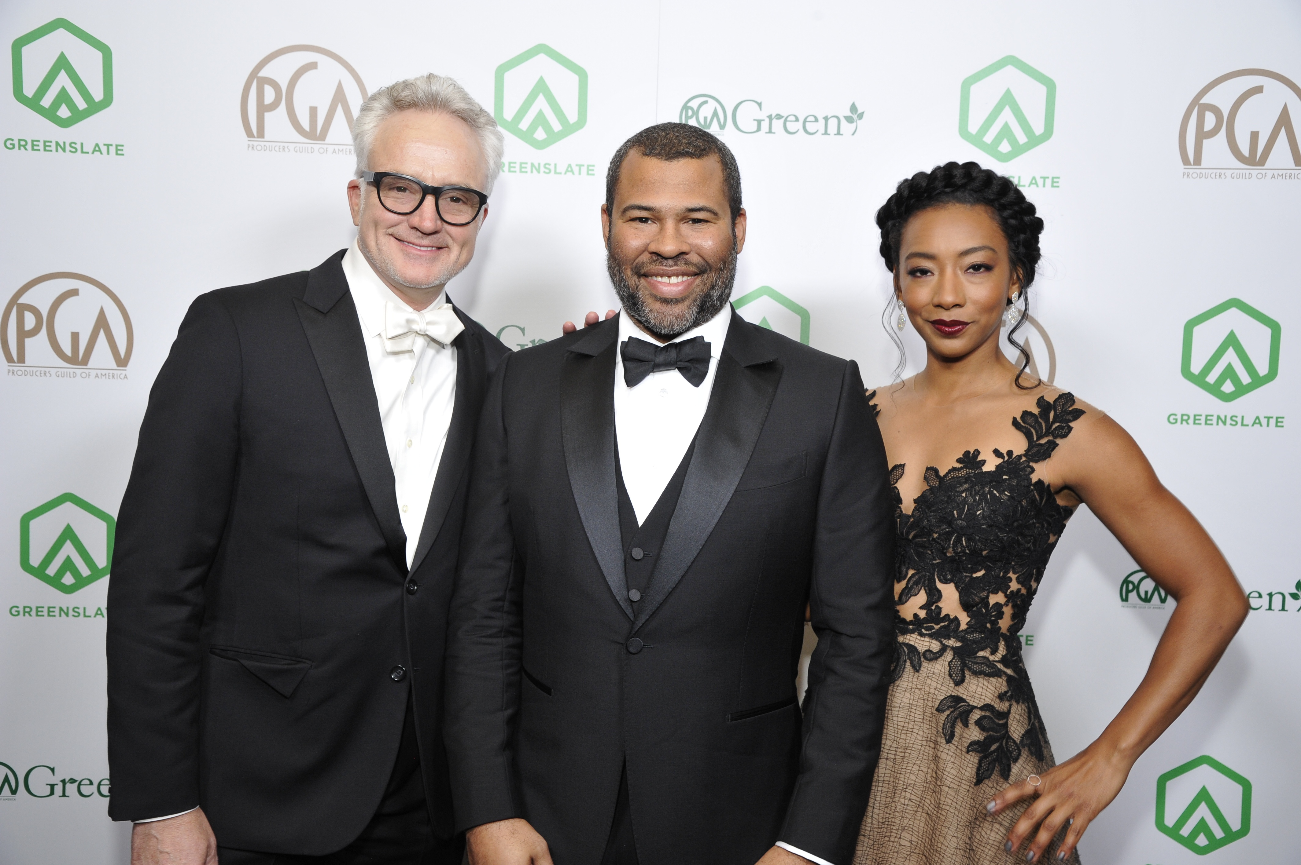 "Get Out's Bradley Whitford, Jordan Peele (nominee for The Darryl F. Zanuck Award for Outstanding Producer of Theatrical Motion Pictures), and Betty Gabriel attend the 29th Annual Producers Guild Awards supported by GreenSlate at The Beverly Hilton Hotel on January 20, 2018 in Beverly Hills, California. (Photo by John Sciulli/Getty Images for GreenSlate).  ""Get Out"" received the Stanley Kramer Award."