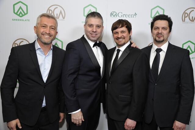 "Producers Den Tolmor, Evgeny Afineevsky, and Aaron Butler, nominees for The Award for Outstanding Producer of Documentary Theatrical Motion Pictures for ""Cries from Syria,"" and ""Cries from Syria"" Co-Producer Sergei Zhuravsky, attend the 29th Annual Producers Guild Awards supported by GreenSlate at The Beverly Hilton Hotel on January 20, 2018 in Beverly Hills, California. (Photo by John Sciulli/Getty Images for GreenSlate)"