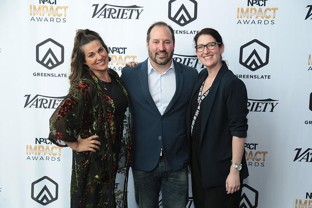 Lucilla D'Agostino, Dan Cesareo (CEO), and Jordana Starr of Big Fish Entertainment. Big Fish Entertainment received the 2018 Production Company of the Year award.