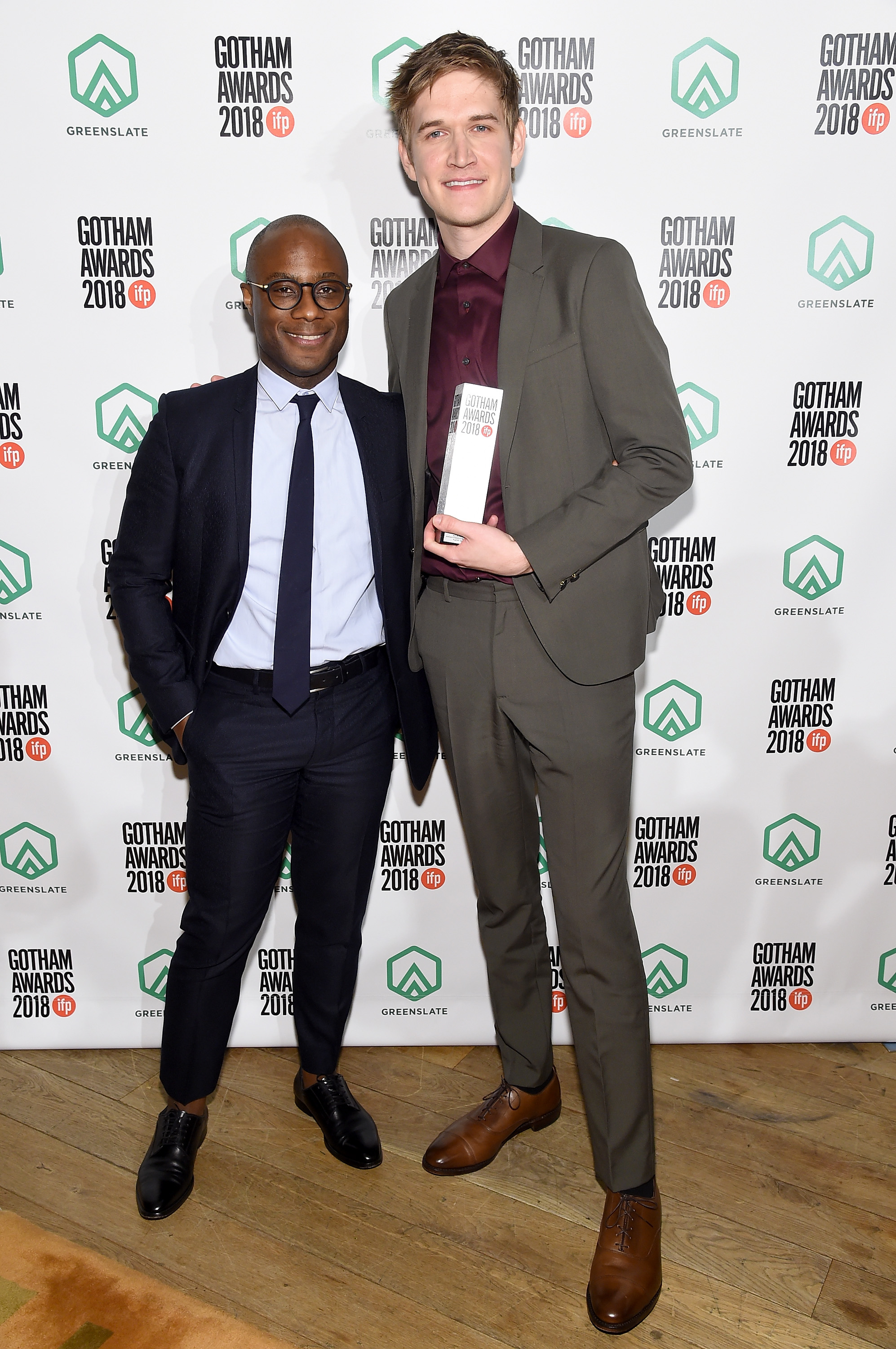 Barry Jenkins and Bo Burnham backstage in the GreenSlate Greenroom during IFP's 28th Annual Gotham Independent Film Awards at Cipriani, Wall Street on November 26, 2018 in New York