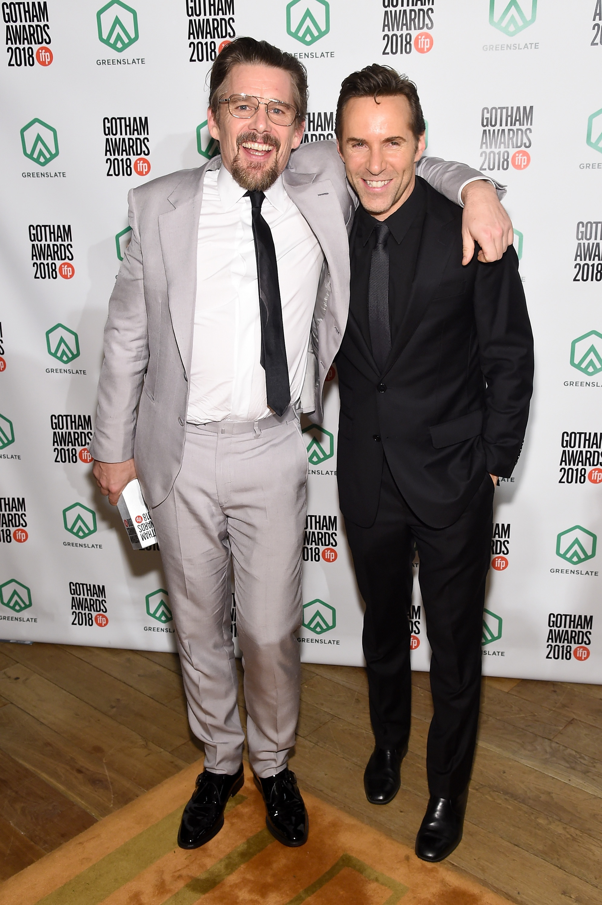 Ethan Hawke and Alessandro Nivola backstage in the GreenSlate Greenroom during the 28th Annual Gotham Awards at Cipriani, Wall Street on November 26, 2018 in New York City.