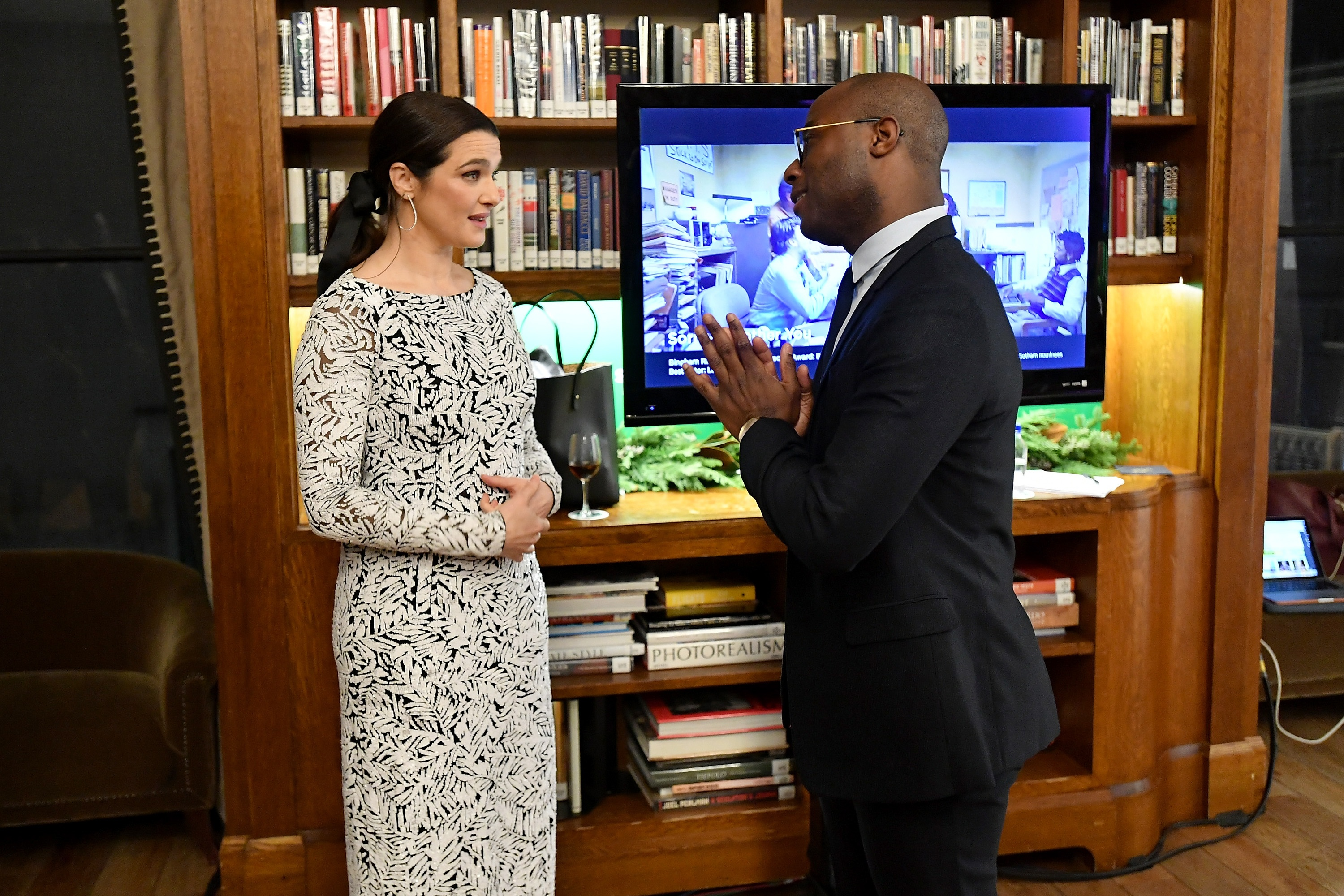 Rachel Weisz and Barry Jenkins backstage in the GreenSlate Greenroom during IFP's 28th Annual Gotham Independent Film Awards at Cipriani, Wall Street on November 26, 2018 in New Yor