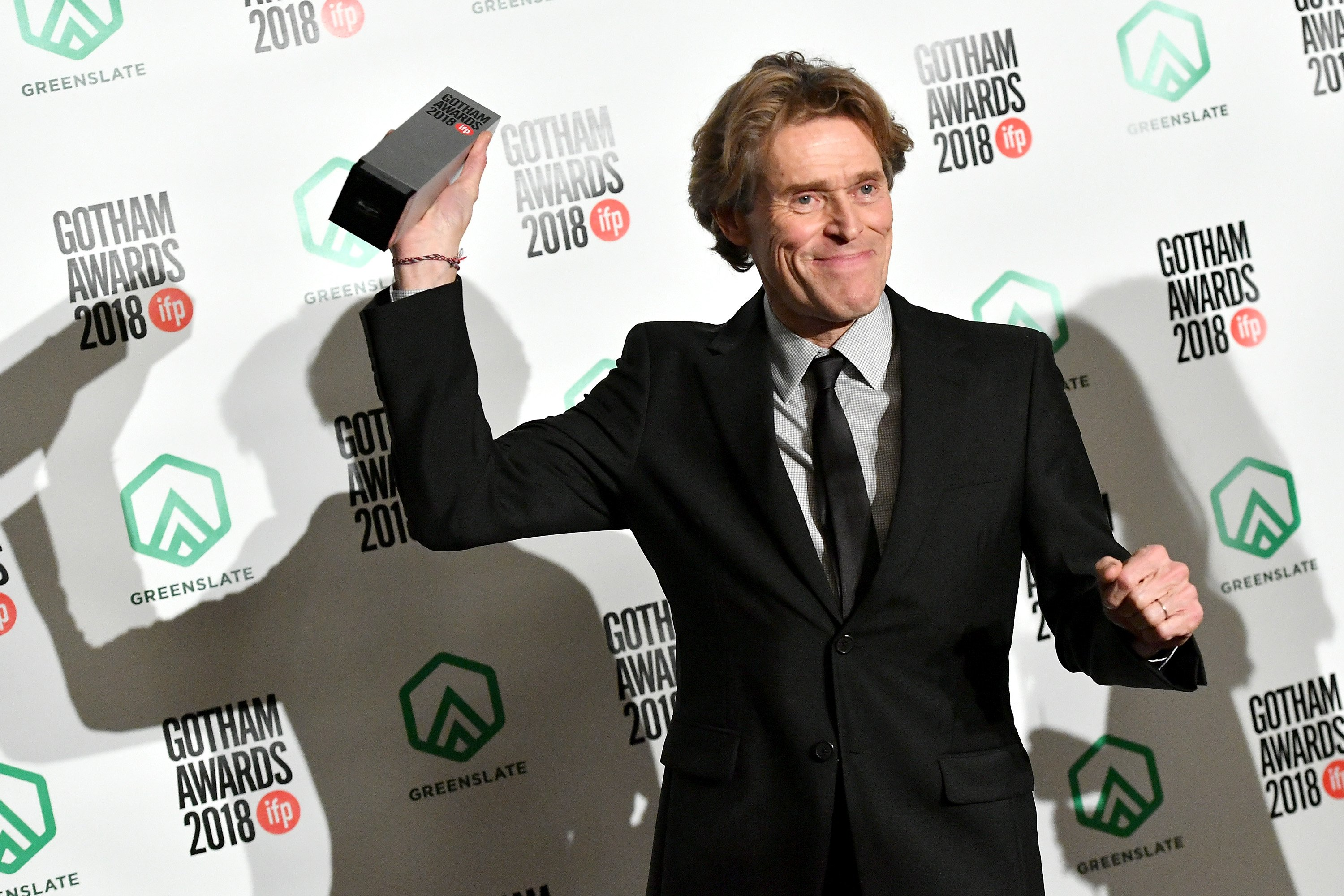 Willem Dafoe backstage in the GreenSlate Greenroom during IFP's 28th Annual Gotham Independent Film Awards at Cipriani, Wall Street on November 26, 2018 in New York City.