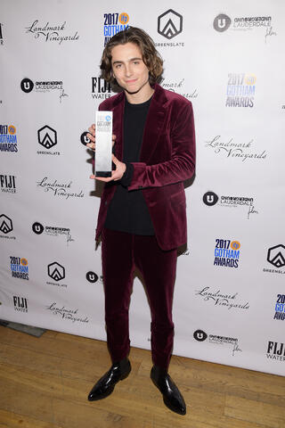 Actor Timothée Chalamet with his Breakthrough Actor Award for his performance in Call Me by Your Name in the GreenSlate Greenroom at the 2017 Gotham Awards in New York City