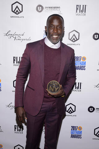 Michael K. Williams with his Made in New York Appreciation Award in the GreenSlate Greenroom at the 2017 Gotham Awards in New York City