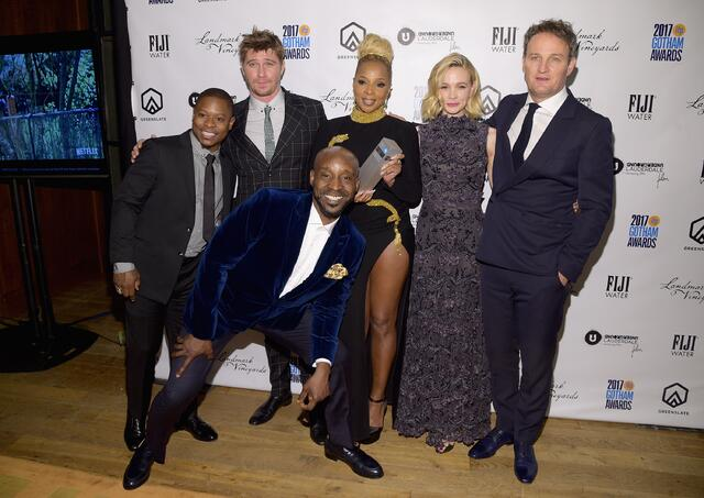 Jason Mitchell, Rob Morgan, Mary J. Blige, Garrett Hedlund, Carey Mulligan, and Jason Clarke with their Special Jury Award Ensemble Performance Award for Mudbound in the GreenSlate Greenroom at the 2017 Gotham Awards in New York City