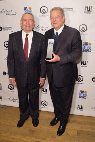Journalist Dan Rather and Former Vice President Al Gore with Gore's Gotham Tribute Award in the GreenSlate Greenroom at the 2017 Gotham Awards in New York City