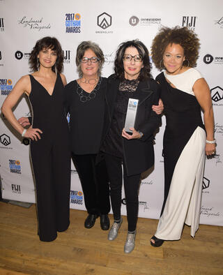 Carla Gugino (L), Nancy Andrews (2nd R), and Michole Briana White (R) backstage in the GreenSlate Greenroom at the 2017 Gotham Awards with the Breakthrough Series - Short Form Award for Andrews' The Strange Eyes of Dr. Myes