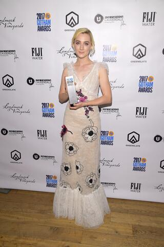 Actor Saoirse Ronan with her Best Actress Award for her performance in Lady Bird in the GreenSlate Greenroom at the 2017 Gotham Awards in New York City