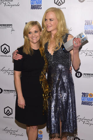 Reese Witherspoon and Nicole Kidman in the GreenSlate Greenroom at the 2017 Gotham Awards in New York City