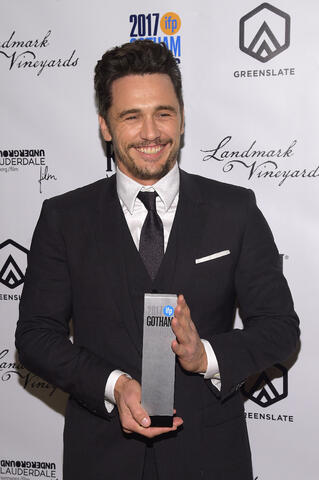 Actor James Franco with his Best Actor Award for his performance in The Disaster Artist in the GreenSlate Greenroom at the 2017 Gotham Awards in New York City