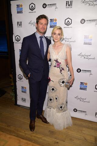 Armie Hammer (Call Me by Your Name) and Saoirse Ronan (Lady Bird) in the GreenSlate Greenroom at the 2017 Gotham Awards in New York City