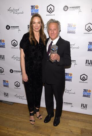 Elizabeth Marvel and Dustin Hoffman in the GreenSlate Greenroom at the 2017 Gotham Awards in New York City