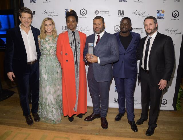 (L-R) Jason Blum, Allison Williams, Dee Rees, Jordan Peele, Daniel Kaluuya, and Sean McKittrick in the GreenSlate Greenroom at the 2017 Gotham Awards in New York City. Get Out was one of the biggest winners of the night and won Best Screenplay, the Bingham Ray Breakthrough Director Award, and the Gotham Audience Award.