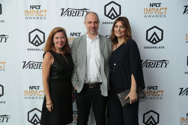 A&E's Elaine Frontain Bryant (recipient of the 2018 Network Development Executive of the Year award), Sean Gottlieb, and Amy Savitsky.