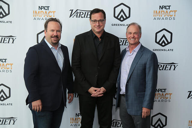 Producer Brent Montgomery (recipient of the 2018 Inspiration Award for Outstanding Achievement in Nonfiction), Host Bob Saget, and NPACT's John Ford.